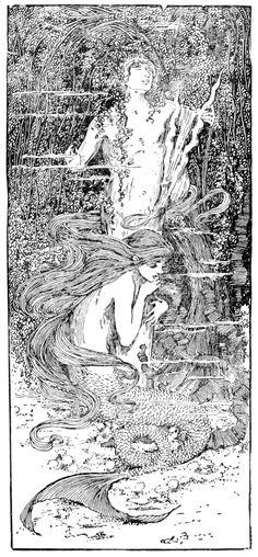 "Helen Stratton illustration Hans Christian Andersen ""Little Mermaid."" - I want just her, not the statue bit."