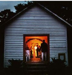 JFK Jr's wedding to Carolyn Bessette on Cumberland Island.  There was no electricity in the Chapel so candlelight was used.
