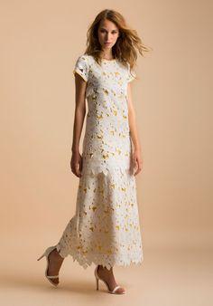 maxi abito con tessuto a fiori
