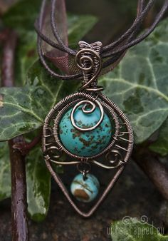 Wire-wrapped turquoise