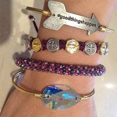 What is in your bracelet stack? We are loving this combo.  #lucaandstella #mysaintmyhero #materialgirlsct