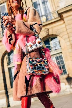 January 25, 2016  Tags Brown, Anna Dello Russo, Pink, Fendi, Geometric, Fur, Women, Prints, Cellphones, Coats, Bags, Fendi Monster, Cellphone Cases, SS16 Women's Couture