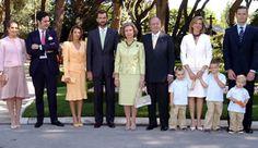 The Spanish royal family, From left: Infanta Elena, Jaime of Marichalar, Princess Letizia, Crown Prince Felipe, Queen Sofia, King Juan Carlos, Infanta Cristina, Inaki Urdangarin and their children Juan Valentin, Pablo Nicolas and Miguel