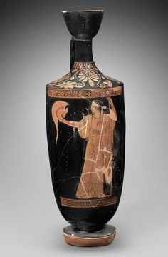 Ceramic red-figure oil flask (lekythos) with Athena. Greek. Early Classical Period, c. 470–460 B.C. The Providence Painter | Museum of Fine Arts, Boston