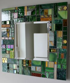 Mosaic Mirror, Mixed Media, Stained Glass, Green, Gold. $150.00, via Etsy.