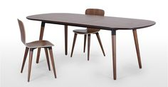 Edelweiss Extending Dining Table, Walnut and Black | made.com