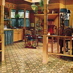 Kitchen Decor, don't like the curtains, but love the rest 1970s Decor, 70s Home Decor, Home Decor Kitchen, Vintage Home Decor, Vintage Room, Vintage Kitchen, Cosy Kitchen, Mid-century Interior, Interior Design