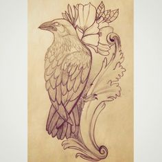 Raven tattoo sketch. Original drawing