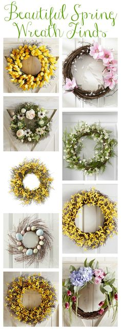 Our Spring Front Porch & Beautiful Spring Wreaths - The Happy Housie Spring Projects, Spring Crafts, Summer Wreath, Spring Wreaths, Spring Home Decor, Spring Decorations, Diy Wreath, Front Porch, Front Doors