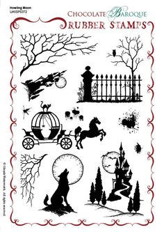 Howling Moon Rubber Stamp sheet - A5 - Chocolate Baroque