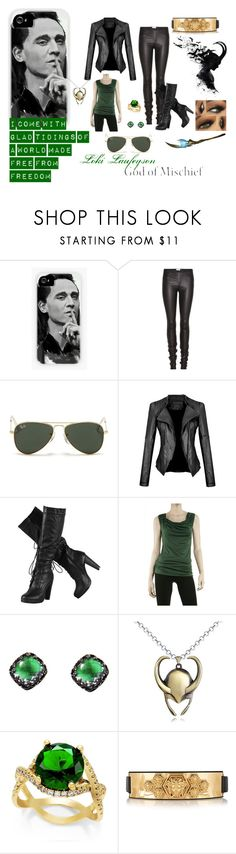 """""""Loki Laufeyson No. 2"""" by rxchelreject ❤ liked on Polyvore featuring Helmut Lang, Ray-Ban, Max Studio and Versace"""