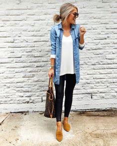 50 Stunning Casual Outfit Ideas For Wome. 50 Stunning Casual Outfit Ideas For Wome. 50 Stunning Casual Outfit Ideas For Women To Look Chic Looks Camisa Jeans, Looks Jeans, Fashion Mode, Look Fashion, Feminine Fashion, Cheap Fashion, Ladies Fashion, Autumn Fashion Casual, Women's Fall Fashion
