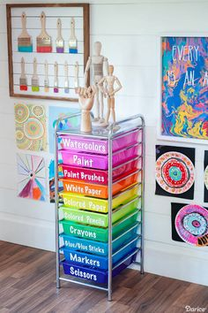 Creative Art Room Supply Organization Ideas - Darice Today we're sharing an easy and creative art room organization idea! Use Darice's rainbow rolling cart to neatly organize must have supplies and materials. Rangement Art, Art Supplies Storage, Organize Art Supplies, Kids Art Storage, Art Supplies For Kids, Playroom Storage, Paper Storage, Baby Supplies, Storage Ideas