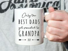 Personalised Grandparent gift, promoted to Grandpa Coffee Mug, Fathers Day Gift idea for Grandpa, New Grandpa grandad pregnancy announcement Happy Birthday Text, Grandparent Gifts, Personalized Mugs, Cat Lover Gifts, Best Dad, Gifts For Father, Cute Gifts, Special Gifts, Promotion