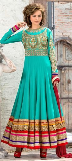 437314 Blue  color family Anarkali Suits in Faux Georgette fabric with Border, Machine Embroidery, Stone, Thread, Zari work .
