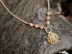 Rose Silk Sea shell necklace with gold beads and by FloridianOcean, $50.00