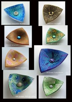 Helen Breil Designs polymer clay bowls with Helen Breil silk screen designs
