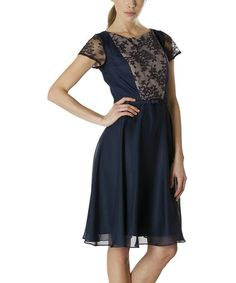 Navy & Nude Metallic Lace Dress - by JS Collections