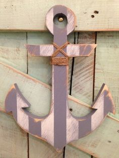 Distressed gray and white wood anchor