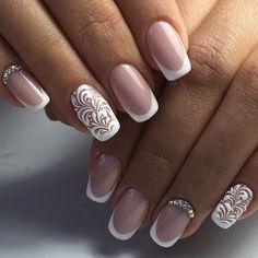 Beautiful French nails, Beautiful wedding nails, Festive French nails, Festive…