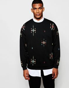ASOS Oversized Sweatshirt With Aztec Print
