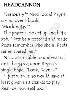 Heroes of Olympus Headcannon. Nico and Reyna's #RealOrNotReal.