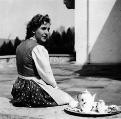 Hitler's companion and lover, Eva Braun on the Berghof terrace. This is the summer of 1940.