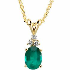 Genuine Emerald  Diamond Necklace | Stuller.com