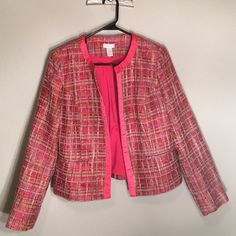 Chico's Pink Woven Blazer Jacket Like new. Chico's Size 0- women's size 4/6. Pink, red, orange, and shades of tan/brown woven/tweed like blazer. Chico's Jackets & Coats