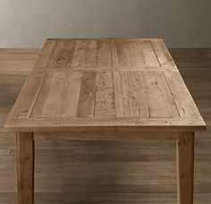 """1900s Boulangerie Expandable Table. Crafted from reclaimed 30-year-old pine scaffolding in Great Britain, planed and sanded, extends with butterfly leaf tucked in the topUnfinished aged pine60""""W x 36""""D x 30""""H (expands to 78""""W)Restoration Hardware$995 (sale)"""