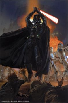 """Breathtaking Art that Puts the """"Wars"""" in Star Wars - Darth Vader and his 501st Legion battle Jedi on the planet Kashyyyk by Dave Seeley"""