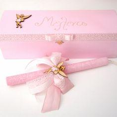 Πασχαλινή λαμπάδα για κοριτσάκι με ξύλινο ζωγραφιστό κουτί PL031