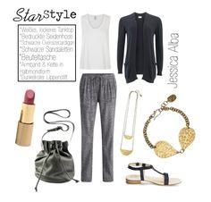 Star Style Jessica Alba - relaxed Outfit Mami Chic - Seidenhose, Tasche, Schuhe @hessnatur / Kette, Armband, Top, Cardigan @peopletree / Lippenstift @drhauschka /