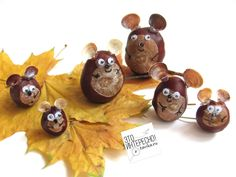 Children's crafts made of chestnut . Children's craft of chestnuts – # Children's # chestnuts # Mouse - Halloween Crafts For Toddlers, Fall Crafts For Kids, Easy Christmas Crafts, Toddler Crafts, Simple Christmas, Diy For Kids, Crafts To Make, Family Crafts, Acorn Crafts