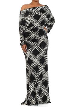 PLUS SIZE LONG MAXI DRESS DOLMAN SLEEVE BLACK OFF SHOULDER BOUTIQUE FASHION #Maxi #Cocktail