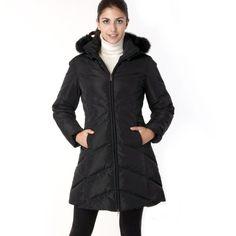 BGSD Women's Chevron Quilted Down Parka Coat with Fox Fur Trim - Black XL $129.99