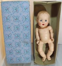 "VINTAGE 1950s BOXED 16"" HARD PLASTIC ROSEBUD BENT-LIMB BABY DOLL"