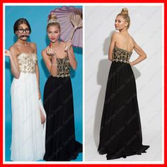 Online Shop A-line Side Cut Outs Beading Sweetheart Chiffon Black White and Gold Prom Dress|Aliexpress Mobile