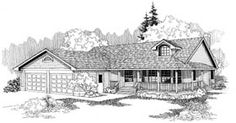 Ranch House Plan 91739 Elevation - 2100 sq ft w/ finished basement (lots of corners)