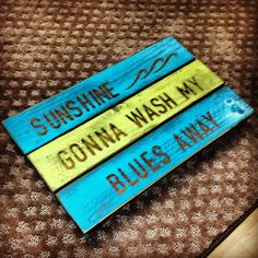"""Zac Brown Band's 'Knee Deep' lyrics in a beach themed wall sign constructed from a wooden crate. Part of a two piece set, constructed with my girlfriend.   """"Gonna put the world away for a minute, pretend I don't live in it, sunshine gonna wash my blues away"""""""