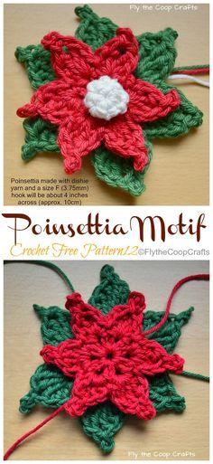 Flower Poinsettia Flower, Christmas Flowers, Christmas Wrapping, Christmas Crafts, Xmas, Christmas Ornaments, Crochet Poppy Free Pattern, Free Crochet, Crochet Patterns