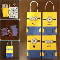 DIY Minion Gift Bags. because he loves minions so much