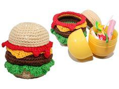 Burger Surprise Crochet Pattern by patternsbysteph on Etsy Crochet Wool, Diy Crochet, Half Double Crochet, Single Crochet, Holiday Banner, Festival Celebration, Sewing Basics, Yarn Colors, Crochet Projects
