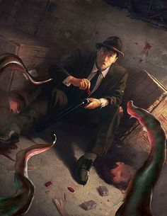 How every game of Call of Cthulhu ends. Fantasy Art Men, Dark Fantasy, Arte Horror, Horror Art, Lovecraft Cthulhu, Hp Lovecraft, Call Of Cthulhu Rpg, Lovecraftian Horror, Eldritch Horror