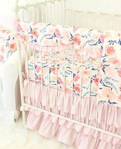 Willow's Blush Pink & Navy scalloped ruffle crib rail guard