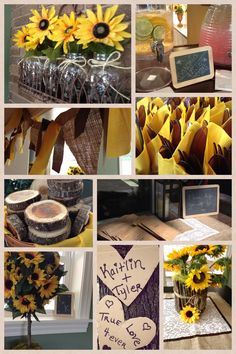 love the top left flowers and the bottom right stick center piece wedding sunflowerssunflower
