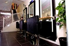 Styling bays at Samuel David Hairdressing in Bristol