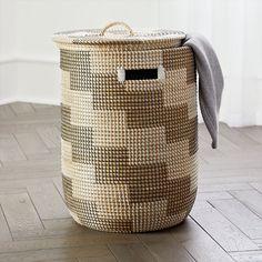 Hamper Basket, Basket Bag, Crate And Barrel, Wicker Laundry Hamper, Laundry Baskets, Egyptian Home Decor, Seagrass Storage Baskets, Wholesale Bags, Silver