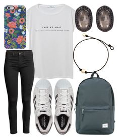 """School outfit"" by jadenriley21 on Polyvore featuring MANGO, adidas, Herschel Supply Co., Rifle Paper Co and Kendra Scott"