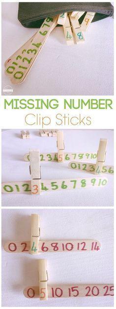 Missing Numbers Clip Sticks is a fun math activity for preschool, prek, and kindergarten, homeschool, number line, math centers, math practice, counting {pacific kid} Mehr zur Mathematik und Lernen allgemein unter zentral-lernen.de
